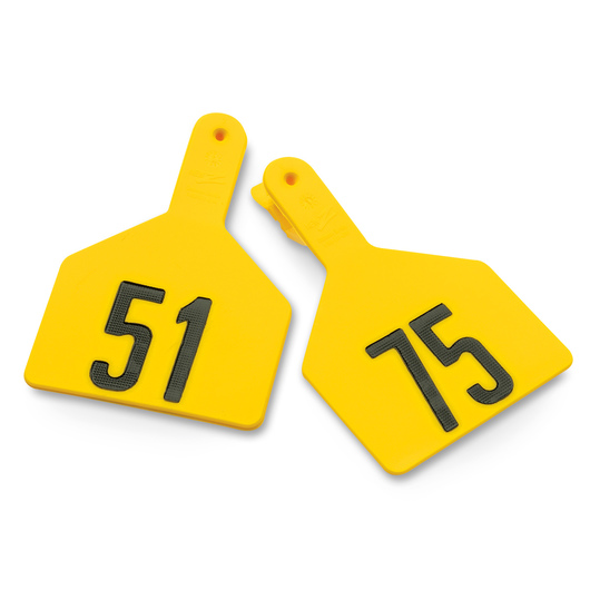 Z1 No-Snag-Tags® One-Piece Numbered Ear Tags, Cow Size 3 in. x 4-1/2 in. - Yellow, Numbers 51-75