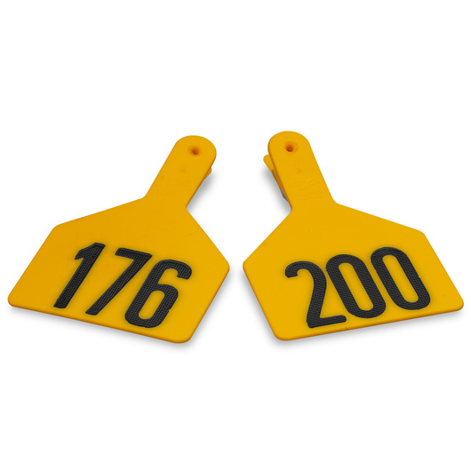 Z1 No-Snag-Tags® One-Piece Numbered Ear Tags, Cow Size 3 in. x 4-1/2 in. - Yellow, Numbers 201+