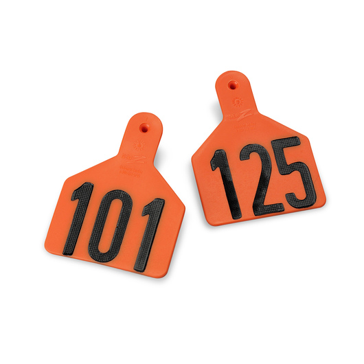 Z1 No-Snag-Tags® One-Piece Numbered Ear Tags, Calf Size 2-3/8 in. x 3-1/8 in. -Orange, Numbers 101-150