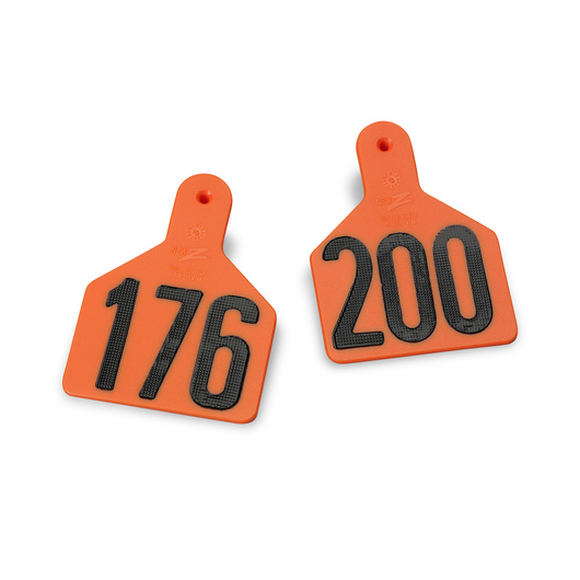 Z1 No-Snag-Tags® One-Piece Numbered Ear Tags, Calf Size 2-3/8 in. x 3-1/8 in. -Orange, Numbers 201+