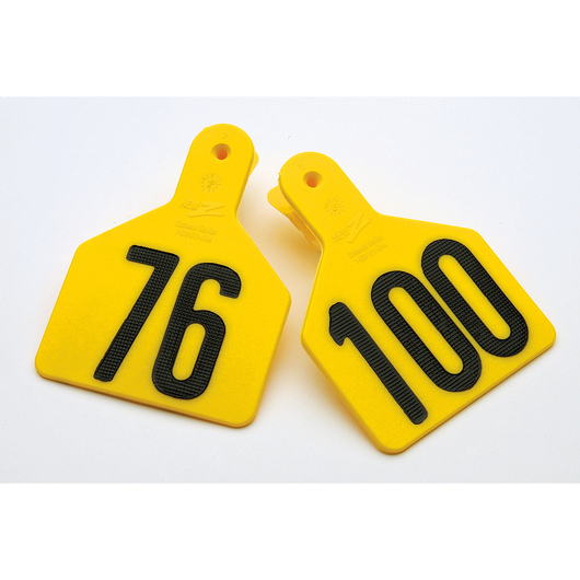 Z1 No-Snag-Tags® One-Piece Numbered Ear Tags, Calf Size 3-1/4 x 2-1/2 - Yellow, Numbers 76-100