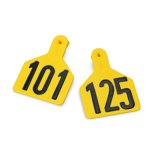 Z1 No-Snag-Tags® One-Piece Numbered Ear Tags, Calf Size 2-3/8 in. x 3-1/8 in. - Yellow, Numbers 126-150