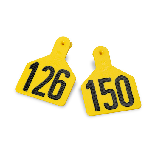 Z1 No-Snag-Tags® One-Piece Numbered Ear Tags, Calf Size 2-3/8 in. x 3-1/8 in. - Yellow, Numbers 1-25