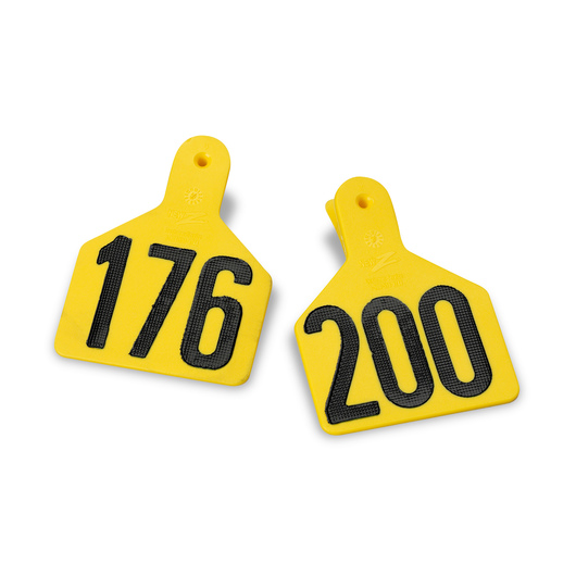 Z1 No-Snag-Tags® One-Piece Numbered Ear Tags, Calf Size 2-3/8 in. x 3-1/8 in. - Yellow, Numbers 201+