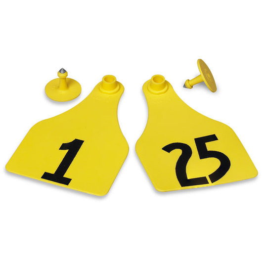 Allflex® Global Super Maxi Female Numbered Tags (with Studs) - Yellow, Numbers 1-25