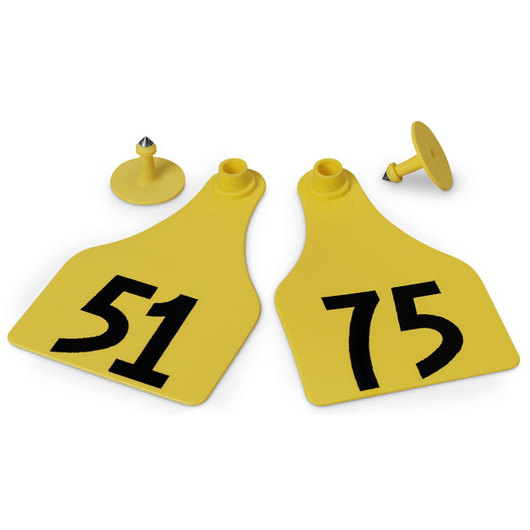 Allflex® Global Super Maxi Female Numbered Tags (with Studs) - Yellow, Numbers 51-75