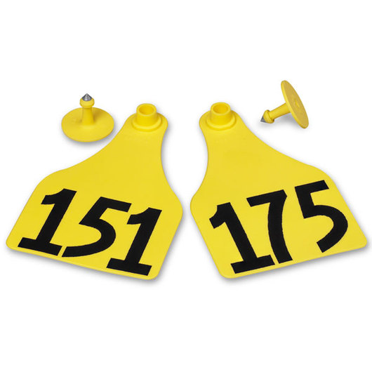 Allflex® Global Super Maxi Female Numbered Tags (with Studs) - Yellow, Numbers 151-175