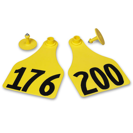 Allflex® Global Super Maxi Female Numbered Tags (with Studs) - Yellow, Any Number 201-1,000