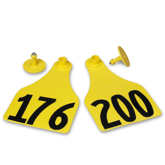 Allflex® Global Super Maxi Female Numbered Tags (with Studs) - Yellow, Numbers Over 1,000