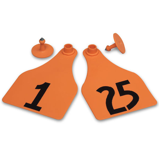 Allflex® Global Super Maxi Female Numbered Tags (with Studs) - Orange, Numbers 1-25