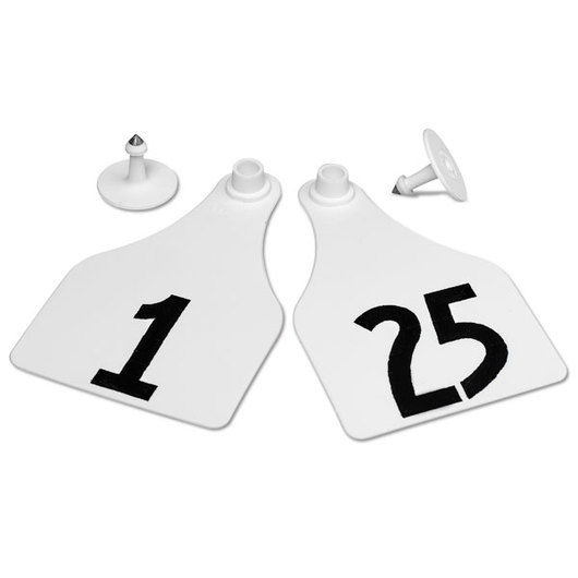 Allflex® Global Super Maxi Female Numbered Tags (with Studs) - White, Numbers 1-25