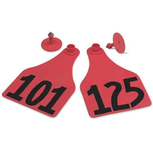 Allflex® Global Super Maxi Female Numbered Tags (with Studs) - Red, Numbers 101-125