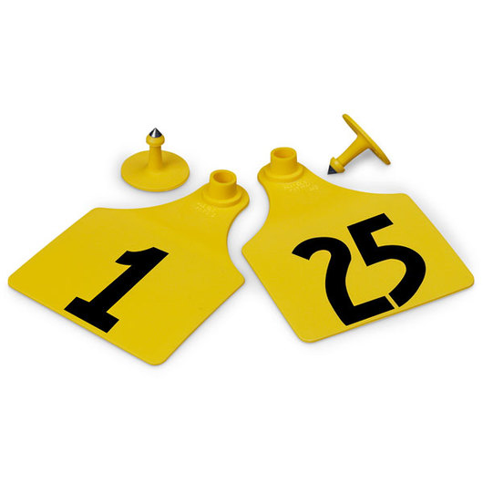 Allflex® Global Maxi Female Numbered Tags (with Studs) - Yellow, Numbers 1-25