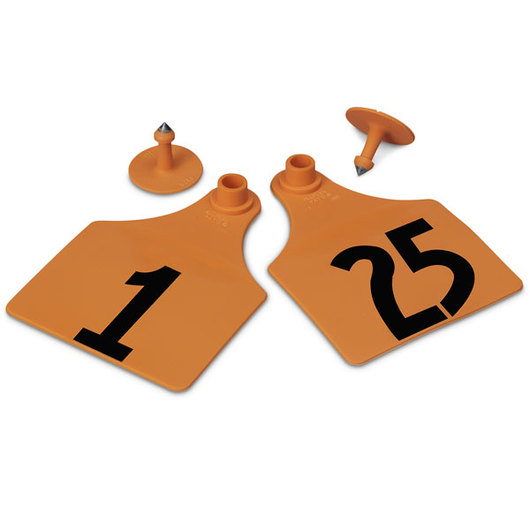 Allflex® Global Maxi Female Numbered Tags (with Studs) - Orange, Numbers 1-25