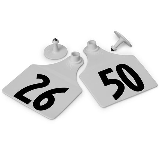 Allflex® Global Maxi Female Numbered Tags (with Studs) - White, Numbers 26-50