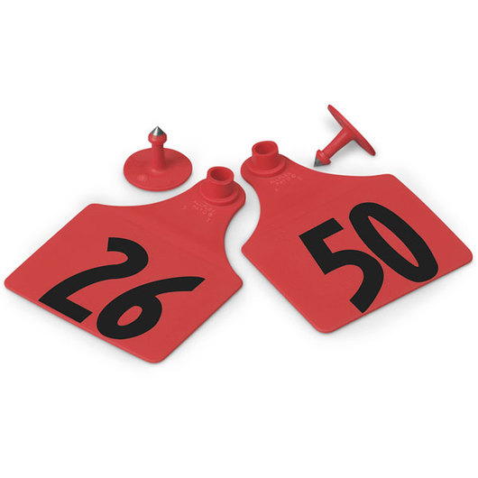Allflex® Global Maxi Female Numbered Tags (with Studs) - Red, Numbers 26-50