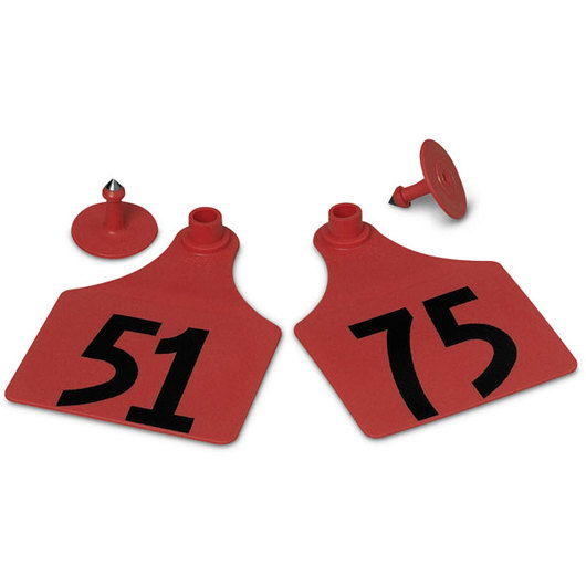 Allflex® Global Maxi Female Numbered Tags (with Studs) - Red, Numbers 51-75