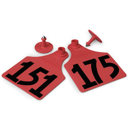 Allflex® Global Maxi Female Numbered Tags (with Studs) - Red, Numbers 151-175