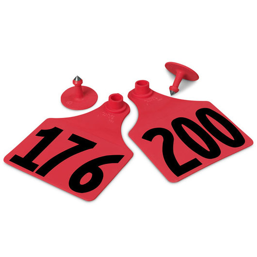 Allflex® Global Maxi Female Numbered Tags (with Studs) - Red, Numbers 176-200