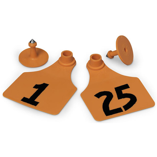 Allflex® Global Large Female Numbered Tags (with Studs) - Orange, Numbers 1-25