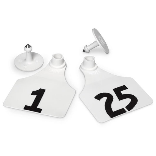 Allflex® Global Large Female Numbered Tags (with Studs) - White, Numbers 1-25