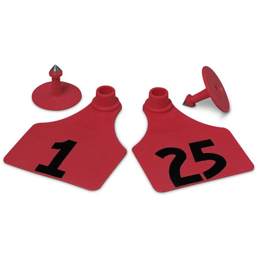 Allflex® Global Large Female Numbered Tags (with Studs) - Red, Numbers 1-25