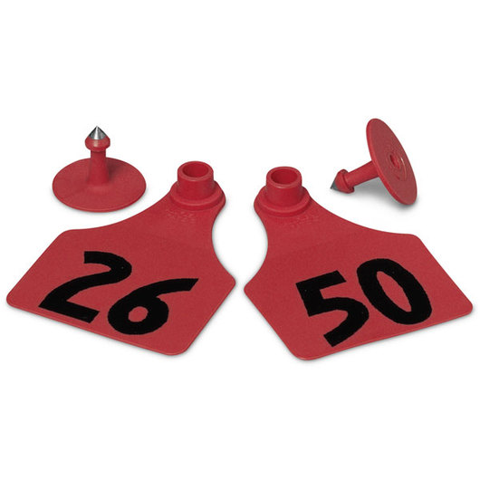 Allflex® Global Large Female Numbered Tags (with Studs) - Red, Numbers 26-50