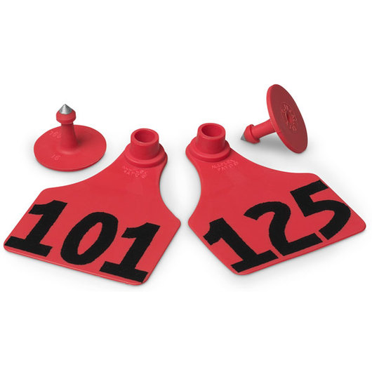 Allflex® Global Large Female Numbered Tags (with Studs) - Red, Numbers 101-125