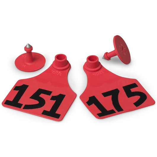 Allflex® Global Large Female Numbered Tags (with Studs) - Red, Numbers 151-175