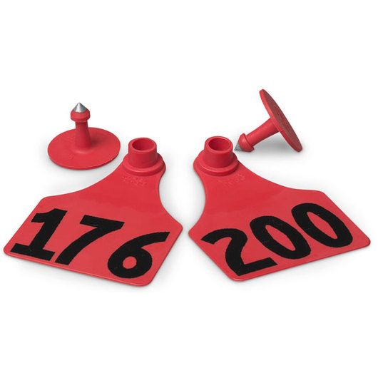 Allflex® Global Large Female Numbered Tags (with Studs) - Red, Numbers Over 1,000