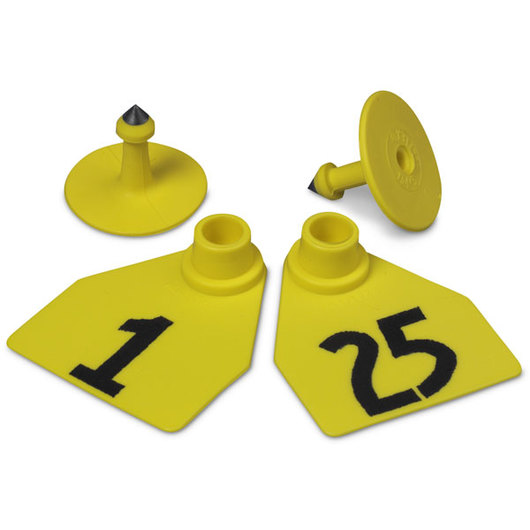 Allflex® Global Medium Female Numbered Tags (with Studs) - Yellow, Numbers 1-25
