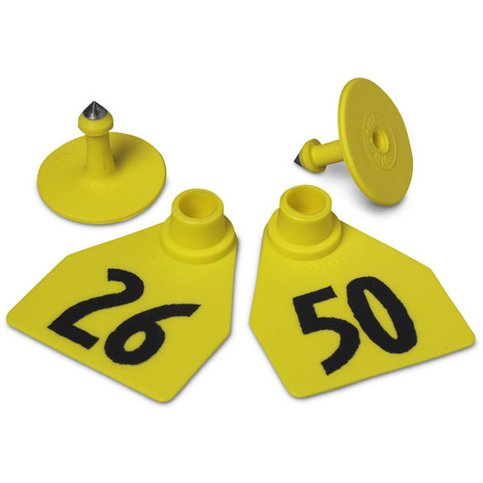 Allflex® Global Medium Female Numbered Tags (with Studs) - Yellow, Numbers 26-50