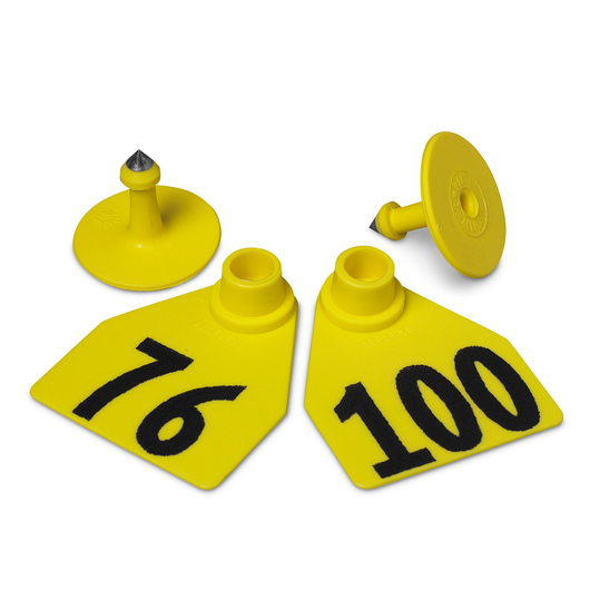 Allflex® Global Medium Female Numbered Tags (with Studs) - Yellow, Numbers 76-100
