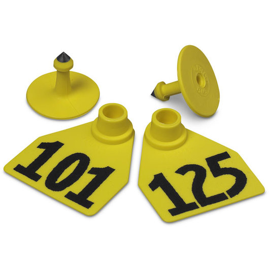 Allflex® Global Medium Female Numbered Tags (with Studs) - Yellow, Numbers 101-125