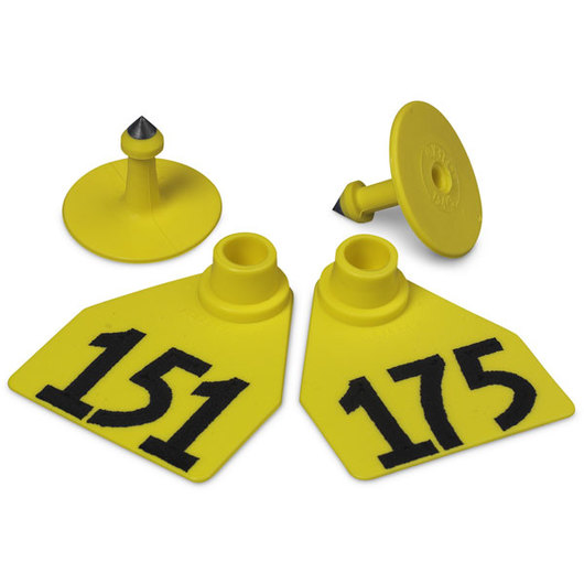 Allflex® Global Medium Female Numbered Tags (with Studs) - Yellow, Numbers 151-175