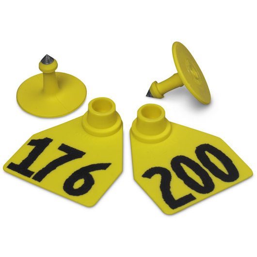 Allflex® Global Medium Female Numbered Tags (with Studs) - Yellow, Numbers Over 1,000