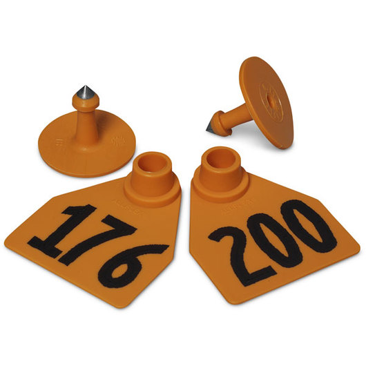 Allflex® Global Medium Female Numbered Tags (with Studs) - Orange, Numbers Over 1,000