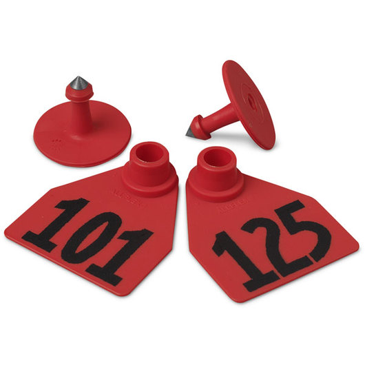 Allflex® Global Medium Female Numbered Tags (with Studs) - Red, Numbers 101-125