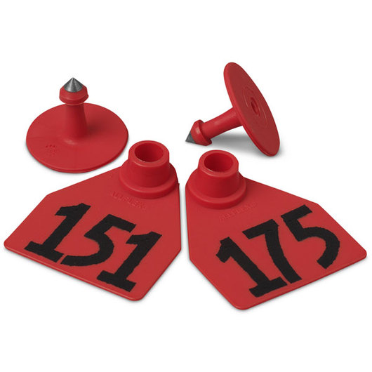 Allflex® Global Medium Female Numbered Tags (with Studs) - Red, Numbers 151-175