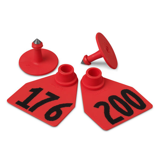 Allflex® Global Medium Female Numbered Tags (with Studs) - Red, Numbers Over 1,000