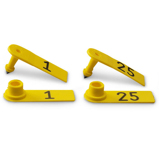 Allflex® Global Sheep Female and Global Sheep Male Numbered Tags - Yellow, Numbers 1-25