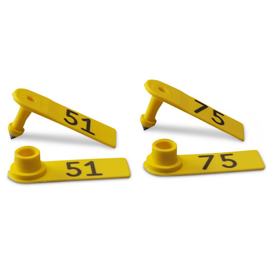 Allflex® Global Sheep Female and Global Sheep Male Numbered Tags - Yellow, Numbers 51-75