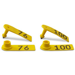 Allflex® Global Sheep Female and Global Sheep Male Numbered Tags - Yellow, Numbers 76-100
