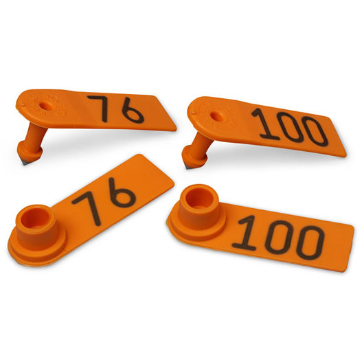 Allflex® Global Sheep Female and Global Sheep Male Numbered Tags - Orange, Numbers 1,001-999,999