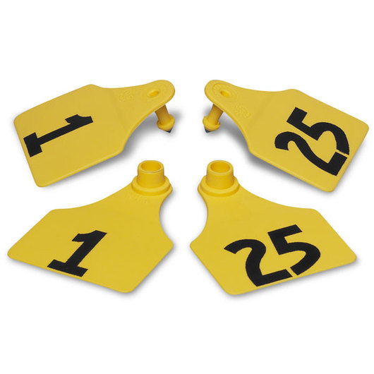 Allflex® Global Large Double Female Numbered Tags (with Studs) - Yellow, Numbers 1-25