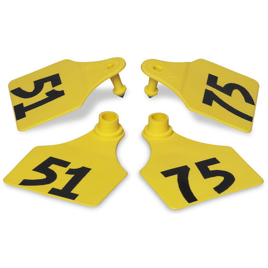 Allflex® Global Large Double Female Numbered Tags (with Studs) - Yellow, Numbers 51-75