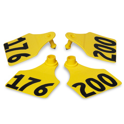 Allflex® Global Large Double Female Numbered Tags (with Studs) - Yellow, Any Number 201-1,000