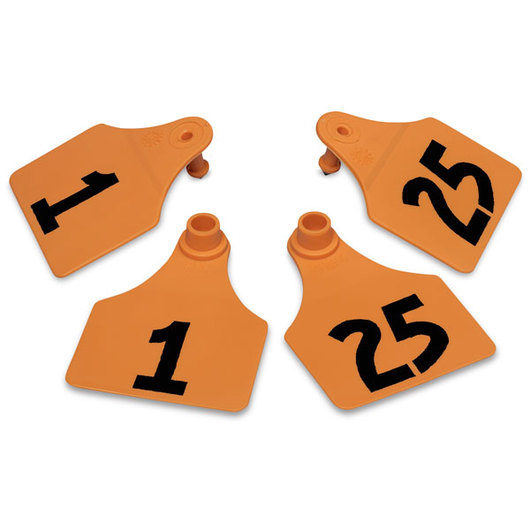 Allflex® Global Large Double Female Numbered Tags (with Studs) - Orange, Numbers 1-25
