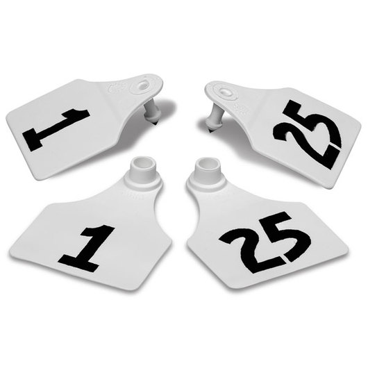 Allflex® Global Large Double Female Numbered Tags (with Studs) - White, Numbers 1-25