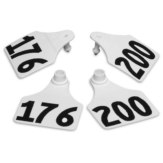Allflex® Global Large Double Female Numbered Tags (with Studs) - White, Numbers Over 1,000
